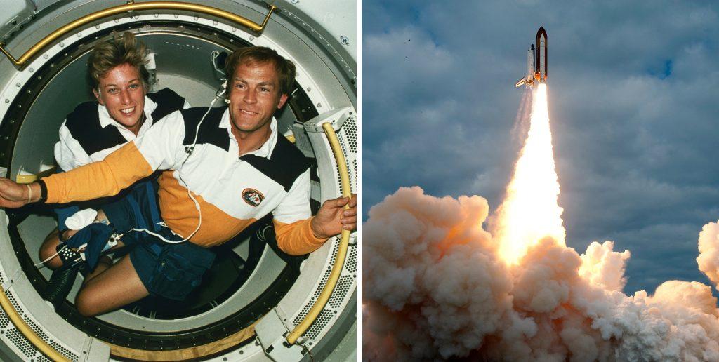 Слева: Ян Дэвис и Марк Ли, первая семейная пара в космосе, на борту шаттла «Индевор». Справа: Спейс Шаттл Эндевор взлетает.