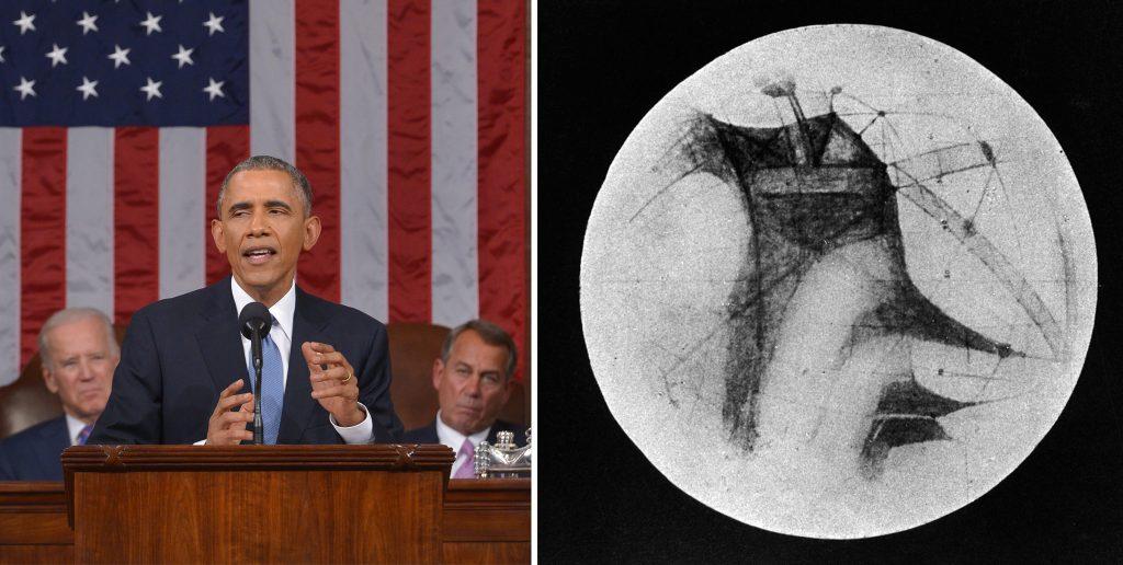Слева: президент США Барак Обама обращается к Конгрессу во время своего послания о положении дел в 2015 году, в ходе которого он сказал: «Я хочу, чтобы американцы… вышли в солнечную систему не только для того, чтобы посетить её, но и для того, чтобы в ней остаться». Справа: «Каналы» и темные области Марса. Американский астроном Персиваль Лоуэлл предполагал, что марсианская цивилизация, столкнувшись с изменением климата, построила каналы для транспортировки воды из ледяных шапок планеты для орошения сельскохозяйственных культур.